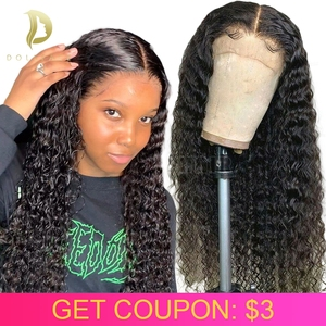 lace front human hair wigs for black women brazilian short curly human hair wig pre plucked hd lace frontal wig deep wave 13x4(China)