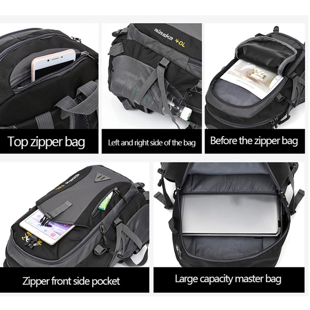 40L unisex waterproof men backpack travel pack sports bag pack Outdoor Mountaineering Hiking Climbing Camping backpack for male 3