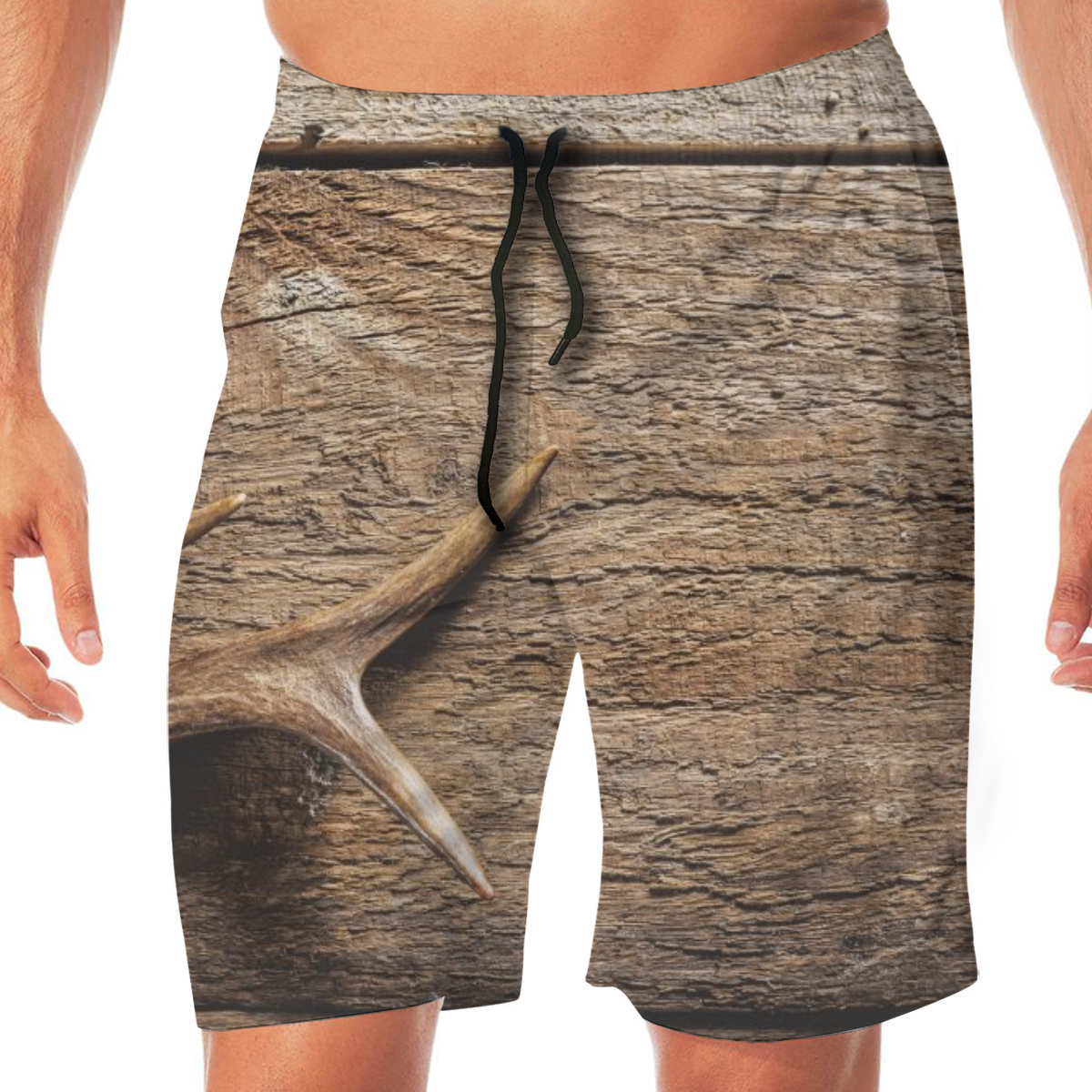 High Angle Deer Antlers On Rustic Wooden Men's Beach Pants Quick Drying Beach Shorts Swimming Surfing Boating Water Sport Trunks