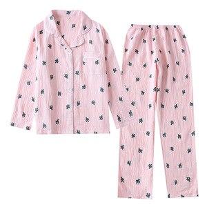 Image 5 - New Crepe Cotton Cactus Printing Pajamas Long Sleeve Trousers Pajama Set Loungewear Women Sleepwear Loose Sleepwear Home Clothes