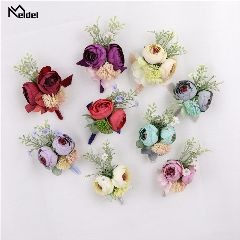 Meldel Wrist Corsage Rose Flower Groom Boutonniere Wedding Handmade Flower Bridesmaid Wrist Corsage Wedding Suit Boutonnieres