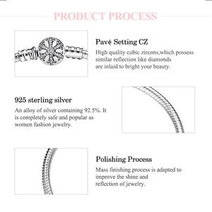 Image 4 - 925 סטרלינג כסף Snowflake קסמי צמיד לחרוט מסנוור ברור CZ עגול אבזם חבל שרשרת לנשים DIY תכשיטים