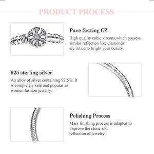 Image 4 - 925 Sterling Silber Schneeflocke charms Armband Gravieren Dazzling Klar CZ Runde Verschluss Seil Kette für Frauen DIY Schmuck