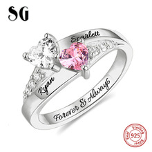 Hot 925 Sterling Silver Double Heart Birthstone Name Ring Custom Engraved Couples' Names Ring With Anniversary Gift цена