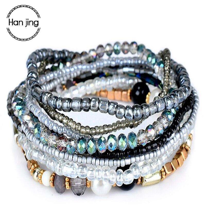 Многослойные браслеты в богемном стиле для женщин, аксессуары, ювелирные изделия, Набор браслетов с разноцветными кристаллами и бусинами