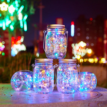 Solar Mason Can Light Led Copper String Outdoor Waterproof Garden Hanging Bottle