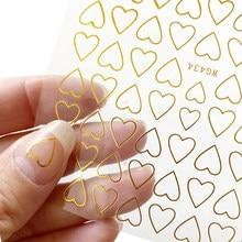 1 pçs 3d etiqueta da arte do prego decalques ouro oco coração amor padrão adesivo envoltórios ponta decoração manicure unhas design