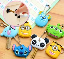 Cute Cartoon Keychain Silicone Stitch Key Case Cover Protective Key Control Dust Cap Holder Gift Women Key Chains 2020(China)