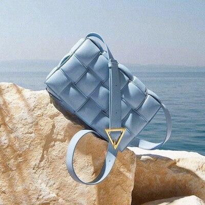 Стеганая кассета, сшитая квадратная сумка для хлеба, дизайнерская Роскошная сумочка, маленькая клетчатая Кожаная подушка, винтажная Ретро ...