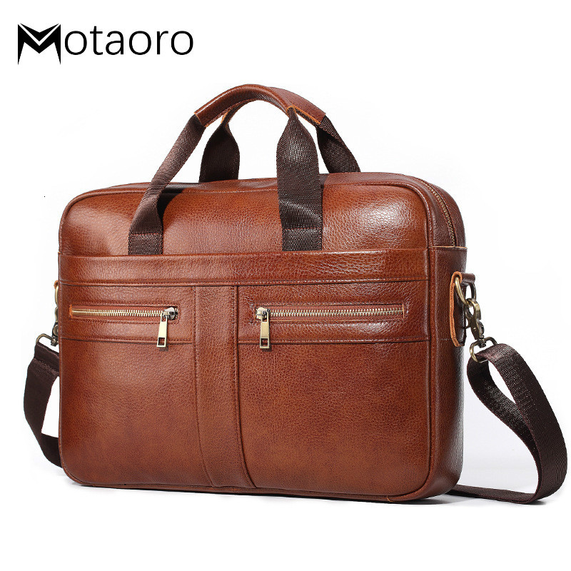 Genuine Leather Men Briefcase Vintage Big Business Laptop Handbag Large Cowhide Messenger Shoulder Bag Man Lawyer Office Bags