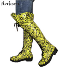Sorbern Yellow Python Knee High Flat Heel Women Boots Round Toe Lace Up Custom Wide Calf Fit Vegan Shoes Designer Spanish Boots(China)