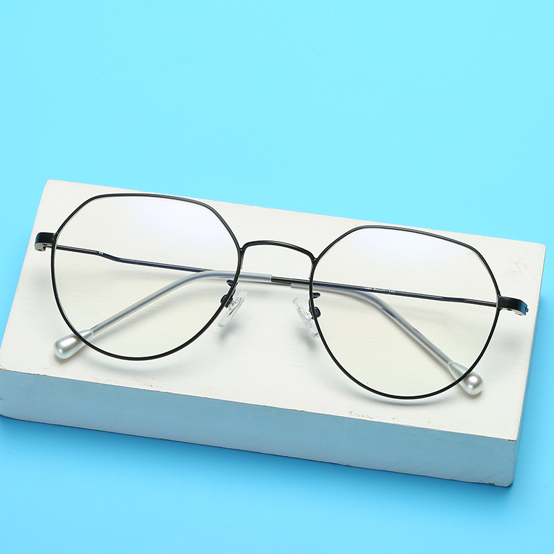 Europe And America New Style Metal Irregular Plain Glasses <font><b>1833</b></font> Retro Pearl Women's Glasses Frame Compatible Nearsighted Glasses image