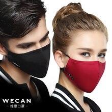 mascarilla negra de algodón Kpop, mascarillas de tela facial antipolvo PM2.5 con 2 uds, filtro de carbón activado, máscara de estilo coreano, máscara facial