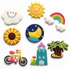 Cartoon Sun Rainbow Soft Plastic Fridge Magnet Cute Childrens Early Education Blackboard Refrigerator Sticker Home Decorations