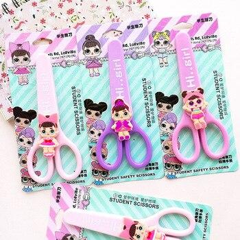 Мультфильм сюрприз милый ребенок студент защитная бумага-cut Art ножницы девочка куклы с защитной крышкой детские школьные принадлежности
