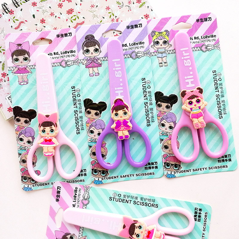 Cartoon Surprise Lovely Baby Student Safety Paper-cut Art Scissors Girl Dolls With Protective Cover Cap Kids School Stationery
