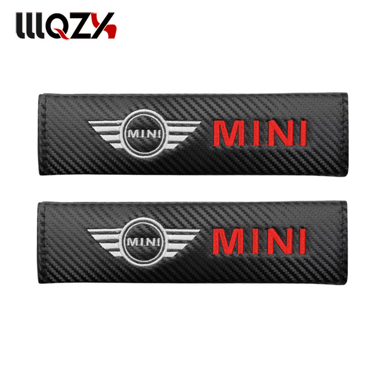 2pcs Car <font><b>carbon</b></font> fiber seat belt protection Cover case for <font><b>Mini</b></font> Cooper 2011 2012 2013 R56 R50 <font><b>R53</b></font> F56 Car Styling accessories image