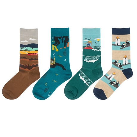 Unisex Funny Socks Surfing Man Penguin Island Night Forest Deep Sea Snorkeling Quiet Mountain Field Men Socks Women Harajuku