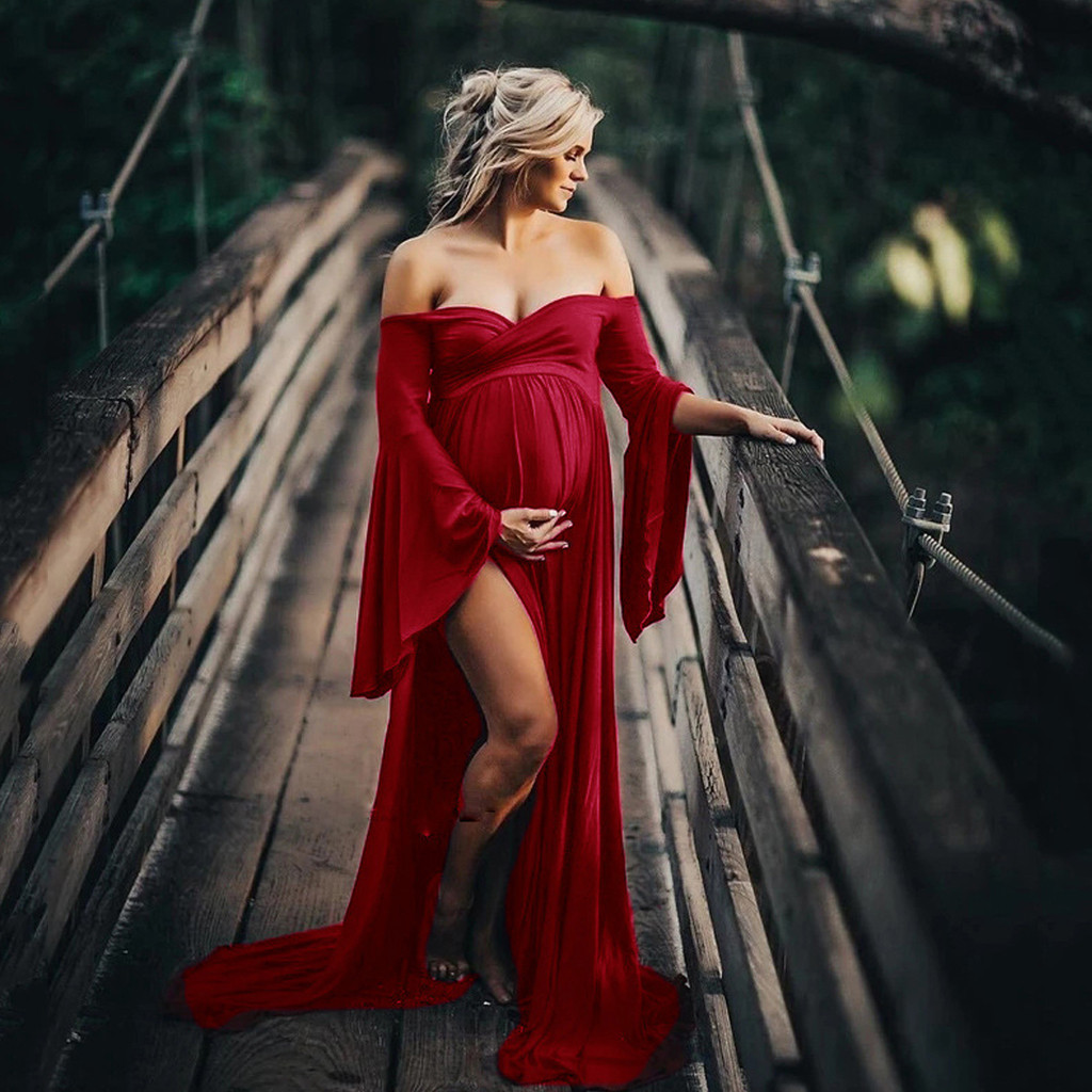 Women Photography Props Pregnants Dress Off Shoulder Long Sleeve Maternity Clothes Pregnancy Maternity Dresses For Photo Shoot