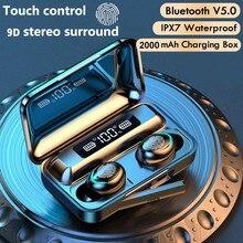 سماعات بلوتوث صغيرة 5.0 سماعات ستيريو TWS لاسلكية داخل الأذن سماعات أذن بدون استخدام اليدين بكلتا الأذنين لجميع الهواتف