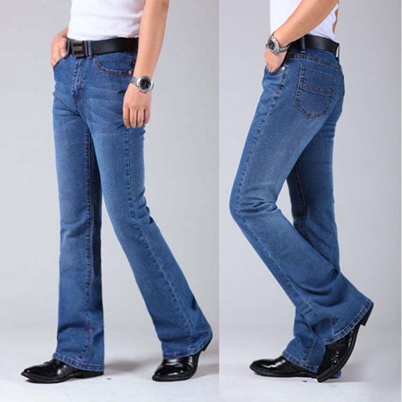 2019 Mens Flared Leg Jeans Trousers High Waist Long Flare Jeans For Men Bootcut Blue Jeans Hommes Bell Bottom Jeans Men