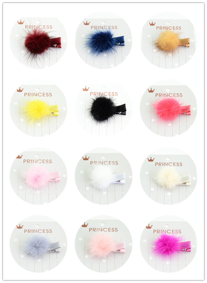 Pompom Hair Gripper Small Pompom Hairball Hairpins Hair Clip Barrette Hairclips