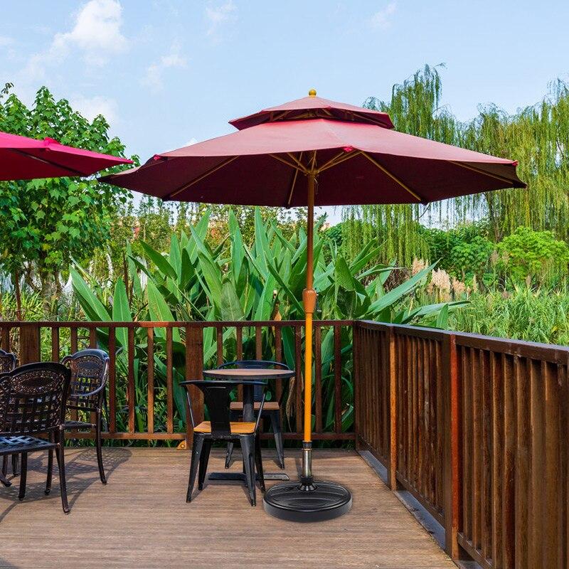 Hot Water Sand Filled Patio Umbrella Base 15.0'' Round Plastic Outdoor Market Umbrella Stand for Garden Lawn 35-38mm Rod PLD