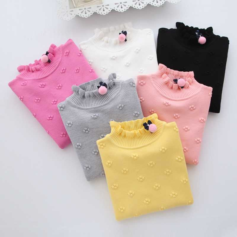 New 2020 Spring Winter Children Clothing Girls Sweater Kids Knitted Sweaters Cute Flower Outerwear Baby Girl Pullovers Age 2-6Y