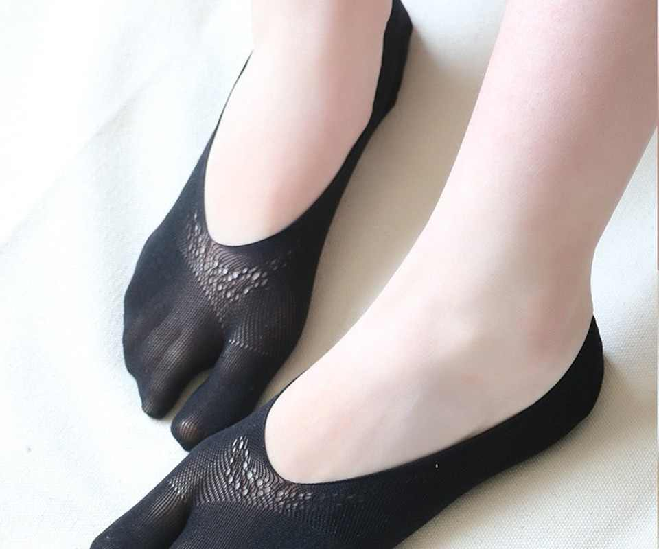 separatori delle dita per alleviare il dolore allalluce calze scollate in silicone antiscivolo che non mostrano GSJDD Calzini traspiranti a cinque dita Taglia unica
