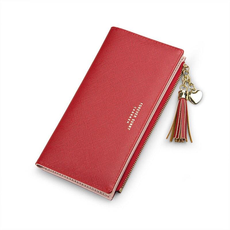 Женский кошелек с кисточками, длинный милый кожаный кошелек с кисточками, женские кошельки на молнии, Женский кошелек, клатч, Cartera Mujer - Цвет: Red