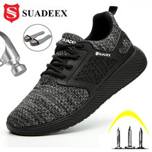 SUADEEX Unisex Men Women Safety Shoes Steel Toe Puncture Proof Work Shoes Lightweight Outdoor Breathable Construction Boots Men