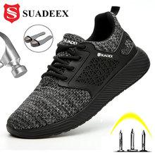 SUADEEX unisexe hommes femmes chaussures de sécurité en acier orteil résistant à la perforation chaussures de travail léger en plein air respirant Construction bottes hommes