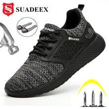SUADEEX יוניסקס גברים נשים נעלי בטיחות הבוהן פלדה לנקב הוכחת עבודה נעליים קל משקל חיצוני לנשימה בנייה מגפי גברים
