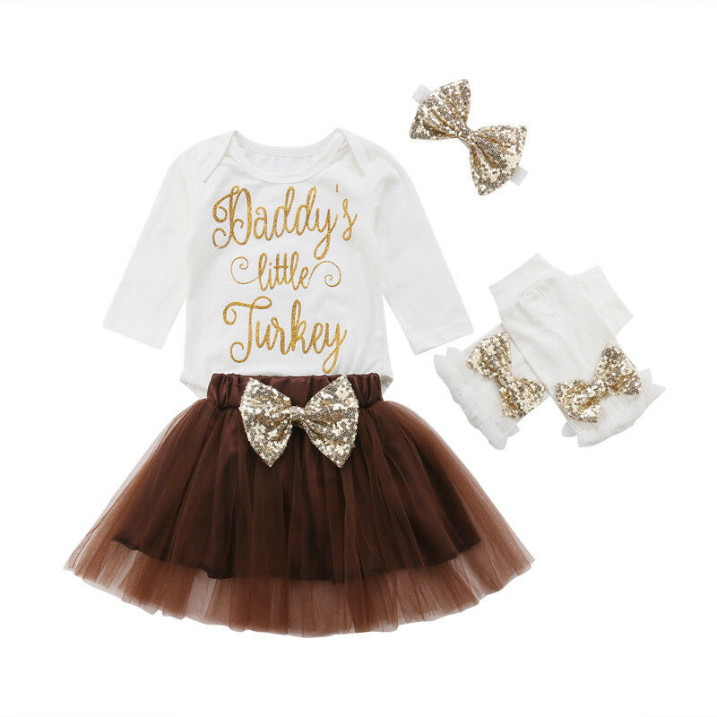 Toddler Kids Baby Girl Thanksgiving Clothes Turkey Tops Tutu Skirts Dress Outfit