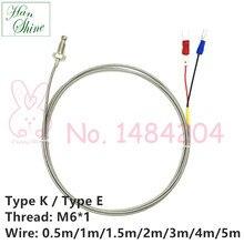 Temperature Sensor Type K / E Thermocouple with M6 Screw Thread 0.5m 1m 2m 3m 2-Core Shielded Wire Thermal Detector Probe