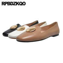 ladies beautiful flats shoes cowhide slip on square toe brown metal loafers women black china genuine leather retro designer