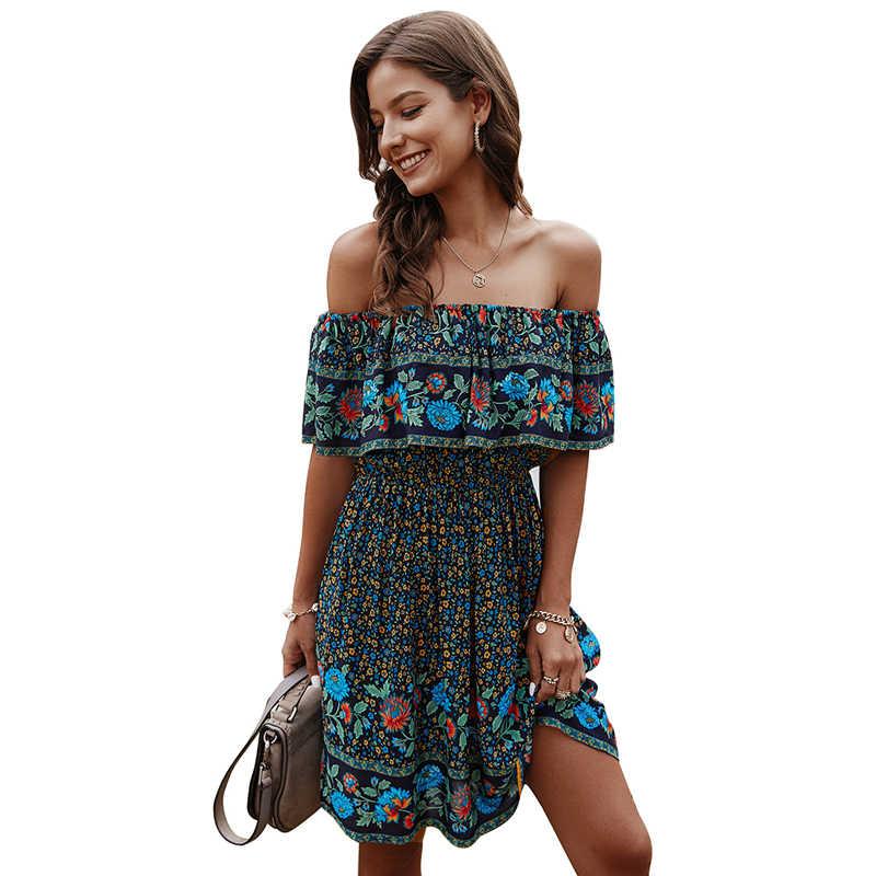 Vintage kısa elbise kadınlar için 2020 yaz bayan elbise kısa kollu kapalı omuz slash boyun pileli İnce vestido de mujer