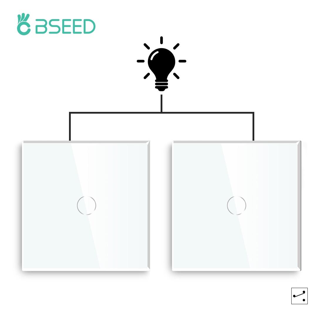 Bseed 1Gang 2Way сенсорный светильник переключатель Мощность переключатель 2 пачки светильник ing переключатели лестница Белый черного и золотого ...
