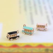 6 pcs Lucky Happiness Bus Enamel Pendant Charms Gold Tone Oil Drop DIY Bracelet Making Rhonestone Car Floating YZ054
