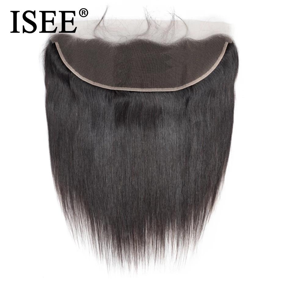 Cheveux brésiliens remy closure lace frontal-ISEE HAIR, cheveux humains avec frontal, lisses, 13*4, partie libre, densité 130%, livraison gratuite