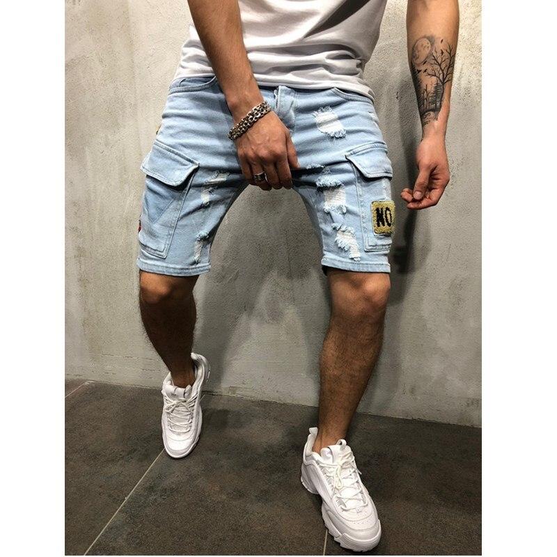 NEW Summer Denim Shorts Embroidered Men's Jeans Shorts Hip-hop Slim Shorts Blue Light Blue Multi-pocket Overalls S-3XL
