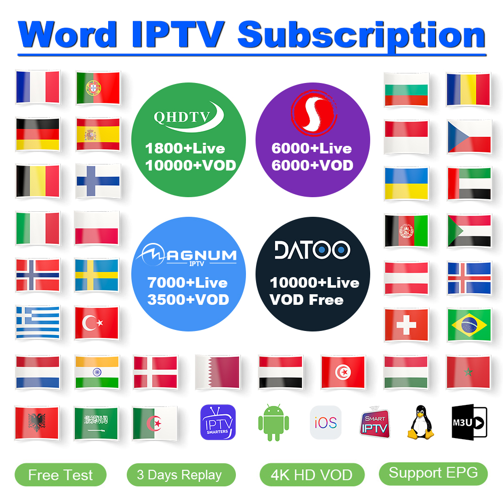 IPTV Spain Portugal France IP TV Subscription QHDTV Sansat Datoo Code IPTV France Arabic Belgium Spain Turkey Netherlands IP TV
