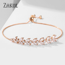ZAKOL Marquise & Round Cubic Zirconia Crystal Fashion CZ Zircon Adjustable Bracelet for Women Wedding Bride Bridesmaid FSBP2177