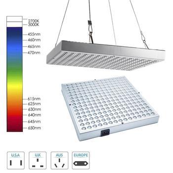 600W 255 LED de espectro completo cuadrado de luz de crecimiento Panel de larga vida útil planta de cultivo de luz para invernadero de interior verduras crecimiento de frutas
