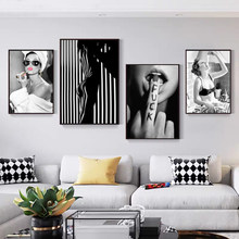 Black and White Sexy Female Fashion Wall Art Canvas Artistic Beauty Wall Poster Images of Modern Home Decoration (no Frame)