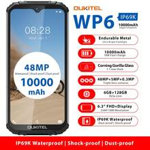 OUKITEL-Telefone celular WP6 IP68, 10000mAh, 6,3 polegadas, FHD+, a prova d'água, 6GB 128GB Octa Core três câmeras 16MP, aparelho robusto