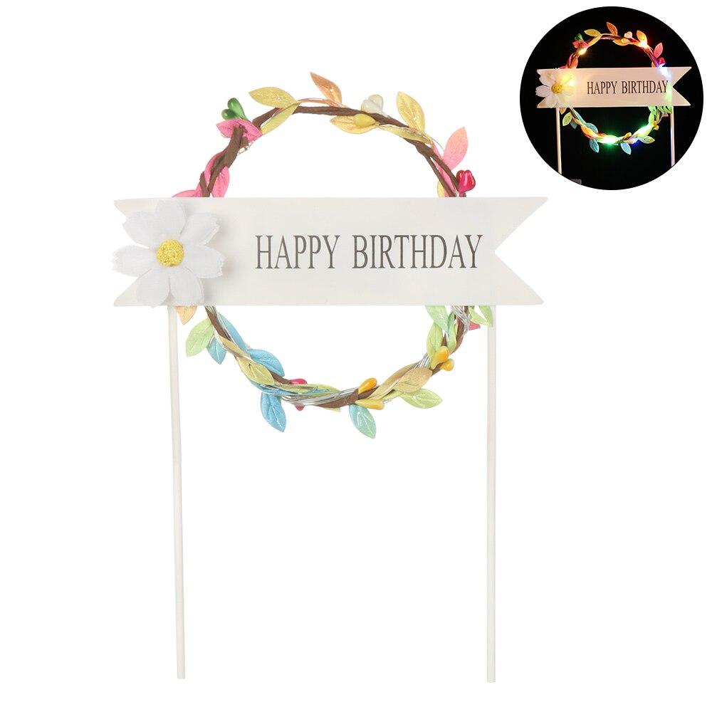 1 шт. светодиодный, светящийся, искусственная гирлянда, Топпер для торта на день рождения, подарок для торта, украшение, цветок маргаритки, топперы для торта, год - Цвет: multicolor