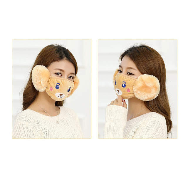 Mother Kids Cute Bear Ear Protective Face Mask Windproof Mouth-muffle Anti Dust Masks Children Anti Haze Flu Cotton Moiuth Masks 5
