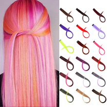 DIANQI Long straight synthetic colour Oberon hair extensions grey red pink clip in prominent rainbow hair