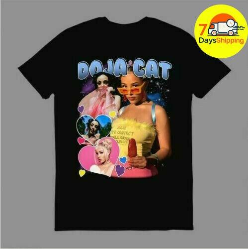 Doja Cat Shirt Vintage 90S Vibes Doja Cat T Shirt Black Cotton Full Size